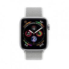 Apple Watch Series 4 GPS + Cellular, 40mm, корпус из алюминия серебристого цвета, спортивный браслет (Sport Loop) цвета «белая ракушка»