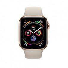 Apple Watch Series 4 GPS + Cellular, 44mm, корпус из стали золотого цвета, спортивный ремешок бежевого цвета