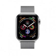 Apple Watch Series 4 GPS + Cellular, 44mm, корпус из стали, миланский сетчатый браслет серебристого цвета