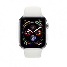 Apple Watch Series 4 GPS + Cellular, 44mm, корпус из стали, спортивный ремешок белого цвета