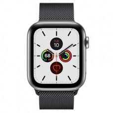 Apple Watch Series 5 GPS + Cellular, 44mm, корпус из стали, миланский сетчатый браслет цвета «черный космос»