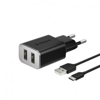 Сетевое ЗУ Deppa 2 USB 2.4А Type-C