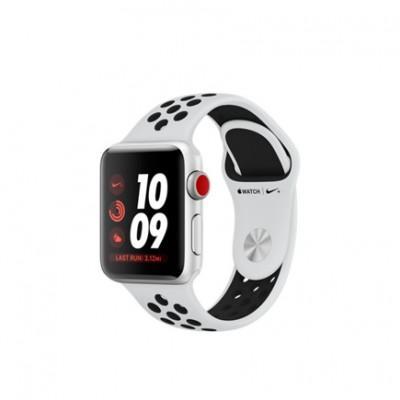 Умные часы Apple Watch Series 3 Nike+ GPS + Cellular, 38mm, корпус из серебристого алюминия, спортивный ремешок Nike цвета «чистая платина/чёрный»
