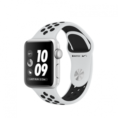 Умные часы Apple Watch Series 3 Nike+ GPS, 38mm , серебристый алюминиевый корпус, спортивный браслет цвета «чистая платина/чёрный»