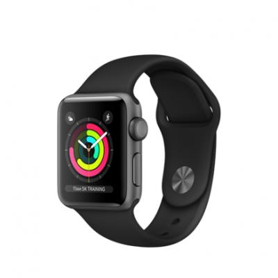 Умные часы Apple Watch Series 3 GPS, 38mm, корпус из алюминия цвета «серый космос», спортивный ремешок чёрного цвета