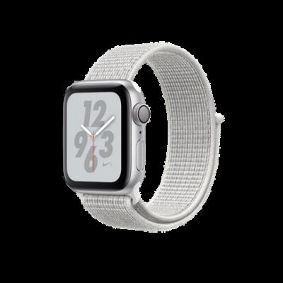 Apple Watch Series 4 Nike+ GPS, 40mm, корпус из алюминия серебристого цвета, спортивный браслет (Sport Loop) Nike цвета «снежная вершина»