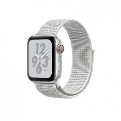Apple Watch Series 4 Nike+ GPS + Cellular, 40mm, корпус из алюминия серебристого цвета, спортивный браслет (Sport Loop) Nike цвета «снежная вершина»