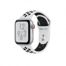 Apple Watch Series 4 Nike+ GPS + Cellular, 40mm, корпус из алюминия серебристого цвета, спортивный ремешок Nike цвета «чистая платина/черный»
