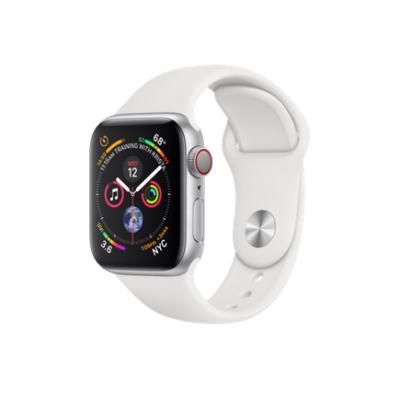 Apple Watch Series 4 GPS + Cellular, 40mm, корпус из алюминия серебристого цвета, спортивный ремешок белого цвета