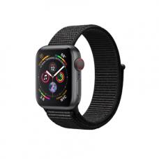 Apple Watch Series 4 GPS + Cellular, 40mm, корпус из алюминия цвета «серый космос», спортивный браслет (Sport Loop) черного цвета
