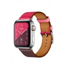 Apple Watch Series 4 GPS + Cellular, 40mm, корпус из стали, ремешок Hermès Single Tour из кожи Swift цвета Bordeaux/Rose Extrême/Rose