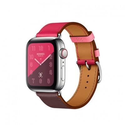 Apple Watch Series 4 GPS + Cellular, 40mm, корпус из стали, ремешок Hermès Single Tour из кожи Swift цвета Bordeaux/Rose Extrême/Rose