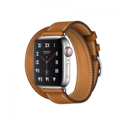 Apple Watch Series 4 GPS + Cellular, 40mm, корпус из стали, ремешок Hermès Single Tour из кожи Barénia цвета Fauve