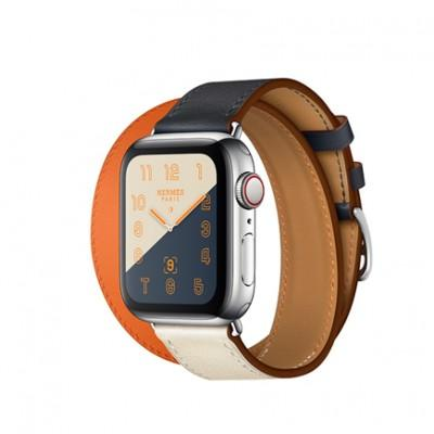 Apple Watch Series 4 GPS + Cellular, 40mm, корпус из стали, ремешок Hermès Double Tour из кожи Swift цвета Indigo/Craie/Orange