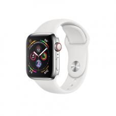 Apple Watch Series 4 GPS + Cellular, 40mm, корпус из стали, спортивный ремешок белого цвета