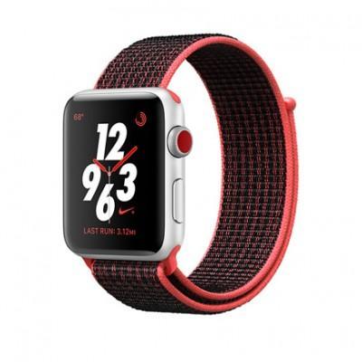 Умные часы Apple Watch Series 3 Nike+ GPS + Cellular, 42mm, корпус из серебристого алюминия, ремешок Sport loop красно-черного цвета