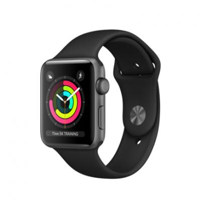 Умные часы Apple Watch Series 3 GPS, 42mm, корпус из алюминия цвета «серый космос», спортивный ремешок чёрного цвета