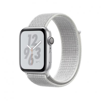 Apple Watch Series 4 Nike+ GPS, 44mm, корпус из алюминия серебристого цвета, спортивный браслет (Sport Loop) Nike цвета «снежная вершина»