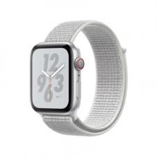 Apple Watch Series 4 Nike+ GPS + Cellular, 44mm, корпус из алюминия серебристого цвета, спортивный браслет (Sport Loop) Nike цвета «снежная вершина»