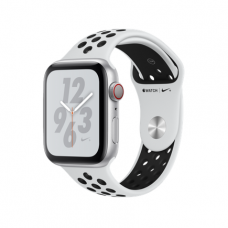 Apple Watch Series 4 Nike+ GPS + Cellular, 44mm, корпус из алюминия серебристого цвета, спортивный ремешок Nike цвета «чистая платина/черный»