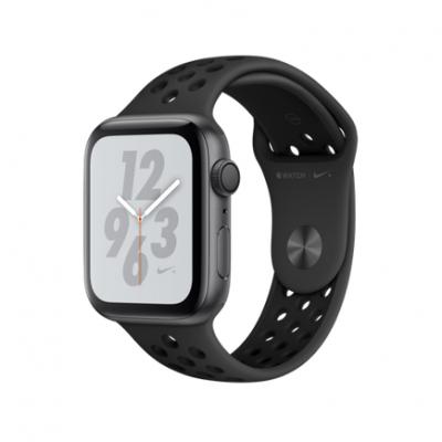 Apple Watch Series 4 Nike+ GPS, 44mm, корпус из алюминия цвета «серый космос», спортивный ремешок Nike цвета «антрацитовый/черный»