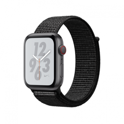 Apple Watch Series 4 Nike+ GPS + Cellular, 44mm, корпус из алюминия цвета «серый космос», спортивный браслет (Sport Loop) Nike черного цвета