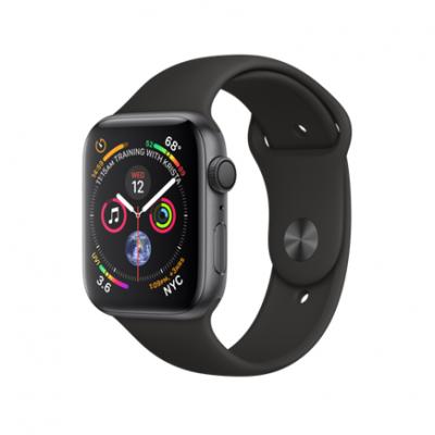 Apple Watch Series 4 GPS, 44mm, корпус из алюминия цвета «серый космос», спортивный ремешок черного цвета