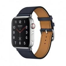 Apple Watch Series 4 GPS + Cellular, 44mm, корпус из стали, ремешок Hermès Single Tour из кожи Swift цвета Bleu Indigo