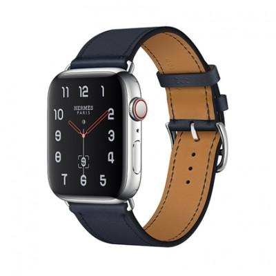 Apple Watch Series 4 GPS + Cellular, 44mm, корпус из стали, ремешок Hermès Single Tour из кожи Swift цвета Bleu Indigo