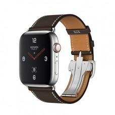Apple Watch Series 4 GPS + Cellular, 44mm, корпус из стали, ремешок Hermès Single Tour из кожи Barénia цвета Ébène с раскладывающейся застёжкой