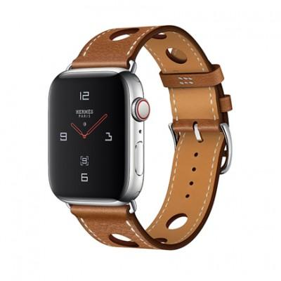 Apple Watch Series 4 GPS + Cellular, 44mm, корпус из стали, ремешок Hermès Single Tour Rallye из зернистой кожи Barénia цвета Fauve