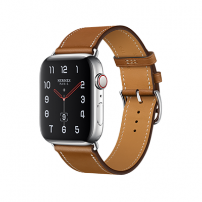 Apple Watch Series 4 GPS + Cellular, 44mm, корпус из стали, ремешок Hermès Single Tour из кожи Barénia цвета Fauve