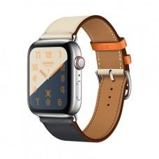 Apple Watch Series 4 GPS + Cellular, 44mm, корпус из стали, ремешок Hermès Single Tour из кожи Swift цвета Indigo/Craie/Orange