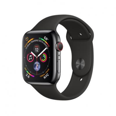 Apple Watch Series 4 GPS + Cellular, 44mm, корпус из стали цвета «черный космос», спортивный ремешок черного цвета