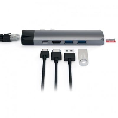 Хаб Satechi Aluminum Type-C Pro Hub Adapter With Ethernet ST-TCPHE купить со скидкой