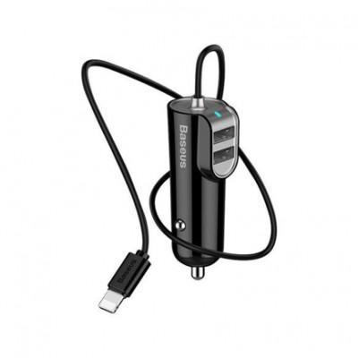 Автомобильное ЗУ Baseus energy Station Car Charger 2 USB + Lightning