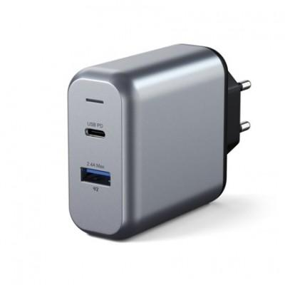 Сетевое ЗУ Satechi Type-C 30W Dual-Port Wall Charger Type-C PD + USB 2.4A