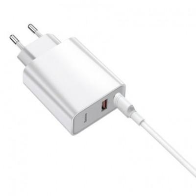Сетевое ЗУ Baseus Speed PPS Quick Charger Adaptor QC 3.0 USB + Type-C с кабелем Type-C 1m