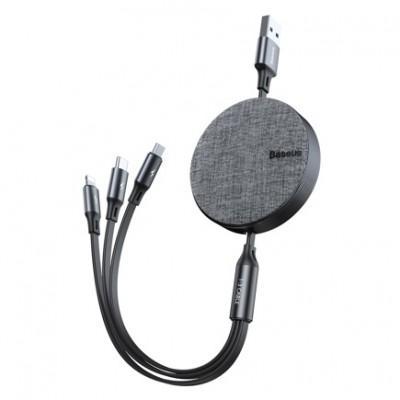Кабель-рулетка Baseus Fabric 3-in-1 Flexible USB Cable