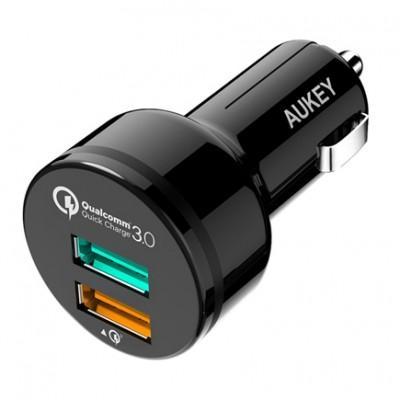 Автомобильное ЗУ Aukey CC-T7 (USB 3.0 QC, USB 2.4A) с кабелем Micro-USB