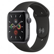 Apple Watch Series 5 GPS, 44mm, корпус из алюминия цвета «серый космос», чёрный спортивный ремешок