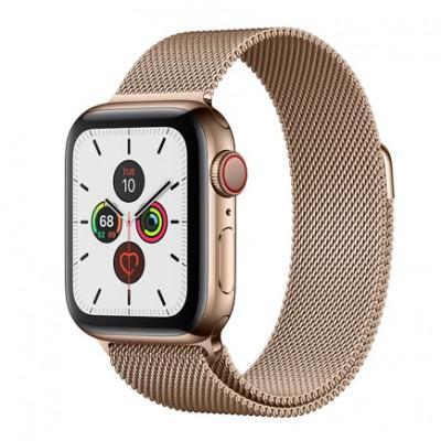Apple Watch Series 5 GPS + Cellular, 40mm, корпус из стали золотого цвета, золотой миланский сетчатый браслет