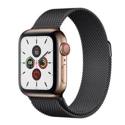 Apple Watch Series 5 GPS + Cellular, 40mm, корпус из стали золотого цвета, миланский сетчатый браслет цвета «черный космос»