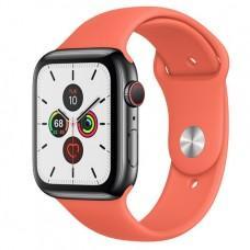 Apple Watch Series 5 GPS + Cellular, 44mm, корпус из стали цвета «черный космос», спортивный ремешок цвета «спелый клементин»