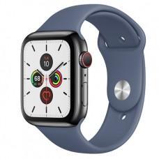 Apple Watch Series 5 GPS + Cellular, 44mm, корпус из стали цвета «черный космос», спортивный ремешок цвета «морской лёд»