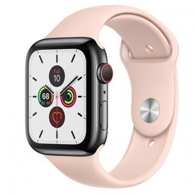 Apple Watch Series 5 GPS + Cellular, 44mm, корпус из стали цвета «черный космос», спортивный ремешок цвета «розовый песок»