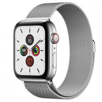 Apple Watch Series 5 GPS + Cellular, 44mm, корпус из стали, серебристый миланский сетчатый браслет