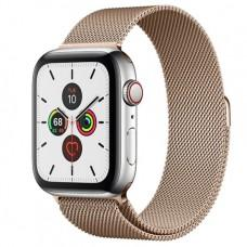 Apple Watch Series 5 GPS + Cellular, 44mm, корпус из стали, золотой миланский сетчатый браслет