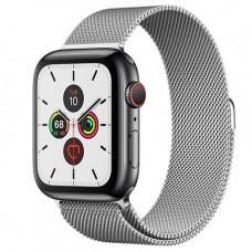 Apple Watch Series 5 GPS + Cellular, 44mm, корпус из стали цвета «черный космос», серебристый миланский сетчатый браслет