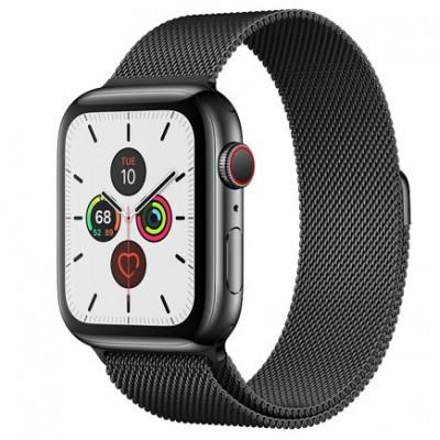 Apple Watch Series 5 GPS + Cellular, 44mm, корпус из стали цвета «черный космос», миланский сетчатый браслет цвета «черный космос»